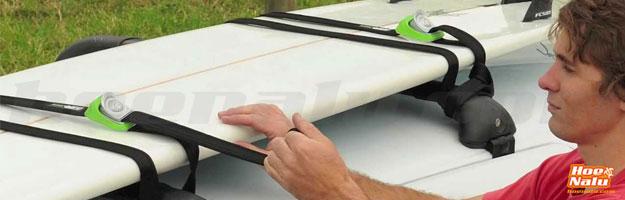 Amarre de tablas de SUP en baca fija con las cinchas de seguridad Kanulock