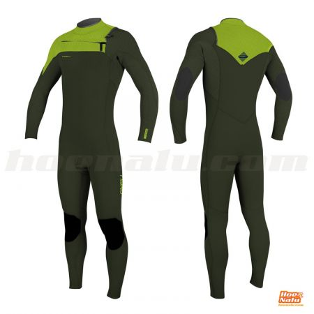 O'Neill Youth Hyperfreak 4/3+ Chest Zip Full Verde