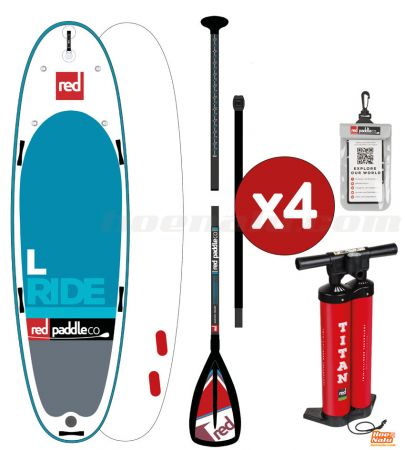 Pack completo de Red Paddle Co L con 4 remos