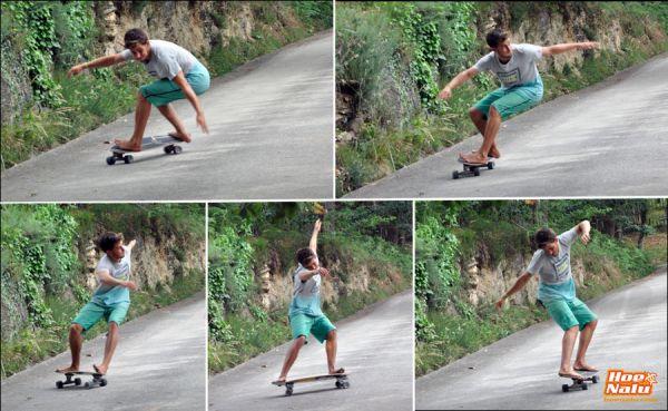 Guillermo Carracedo surfea con un remo fuera del agua